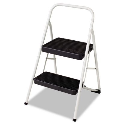 Picture of 2-Step Folding Steel Step Stool, 200 lb Capacity, 17.38w x 18d x 28.13h, Cool Gray