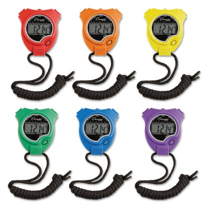 Picture of Water-Resistant Stopwatches, 1/100 Second, Assorted Colors, 6/Set