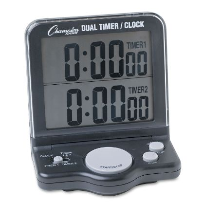 Picture of Dual Timer/Clock w/Jumbo Display, LCD, 3 1/2 x 1 x 4 1/2