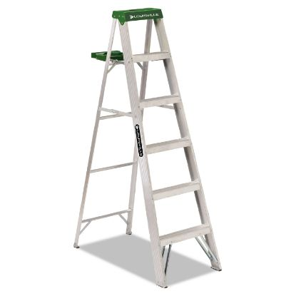 Picture of Aluminum Step Ladder, 6 ft Working Height, 225 lbs Capacity, 5 Step, Aluminum/Green