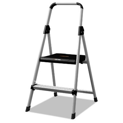 Picture of Aluminum Step Stool Ladder, 2-Step, 225 lb Capacity, 18.5w x 23.5 spread x 38.5h, Silver