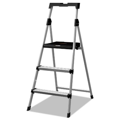Picture of Aluminum Step Stool Ladder, 3-Step, 225 lb Capacity, 20w x 31 spread x 47h, Silver