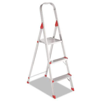 Picture of Aluminum Euro Platform Ladder, 8 ft Working Height, 200 lbs Capacity, 3 Step, Aluminum/Red