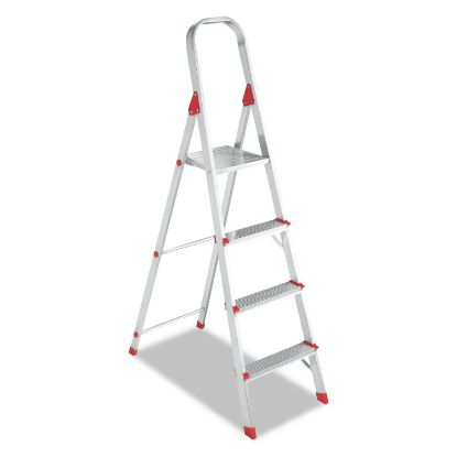 Picture of Aluminum Euro Platform Ladder, 8 ft Working Height, 200 lbs Capacity, 4 Step, Aluminum/Red