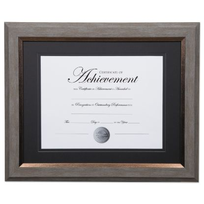 Picture of 2-Tone 11 x 14 Document Frame, 8 1/2 x 11 Insert, Gray/Gold Frame, Black Mat