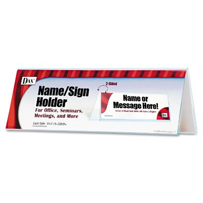 Picture of 2-Sided Name/Sign Holder, Blank, 11 x 3 1/2 x 4, Clear