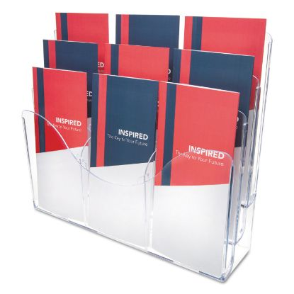 Picture of 3-Tier Document Organizer w/6 Removable Dividers, 14w x 3.5d x 11.5h, Clear