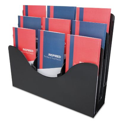 Picture of 3-Tier Document Organizer w/6 Removable Dividers, 13.38w x 3.5d x 11.5h, Black
