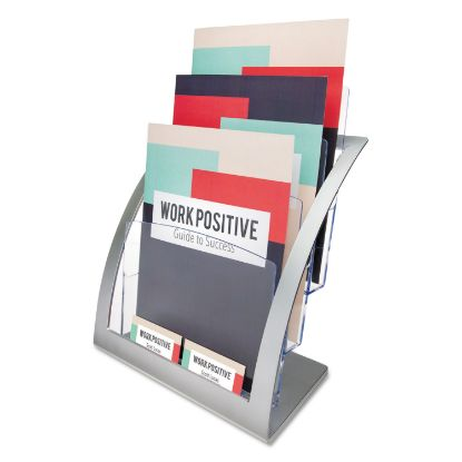 Picture of 3-Tier Literature Holder, Leaflet Size, 11.25w x 6.94d x 13.31h, Silver