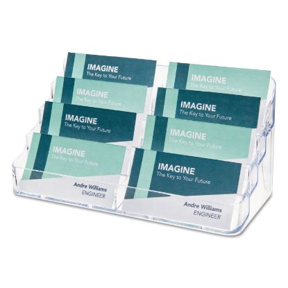 Picture of 8-Pocket Business Card Holder, 400 Card Cap, 7 7/8 x 3 3/8 x 3 1/2, Clear