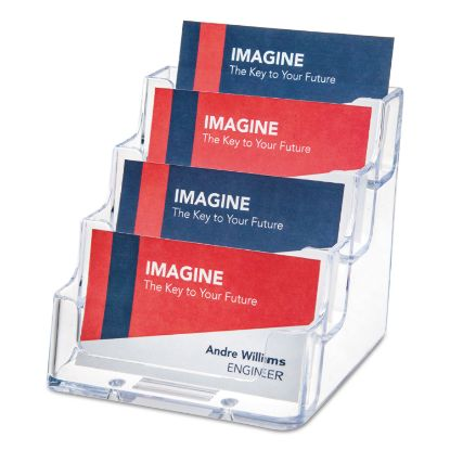 Picture of 4-Pocket Business Card Holder, 200 Card Cap, 3 15/16 x 3 3/4 x 3 1/2, Clear