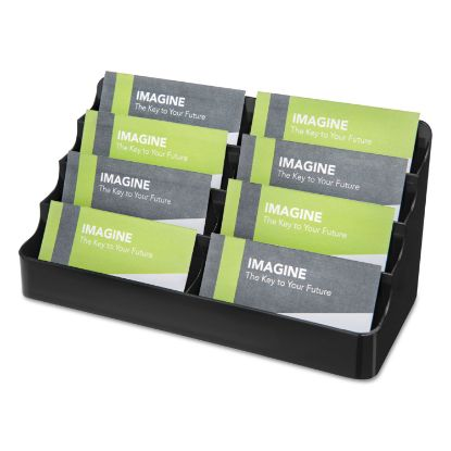 Picture of 8-Tier Recycled Business Card Holder, 400 Card Cap, 7 7/8 x 3 7/8 x 3 3/8, Black