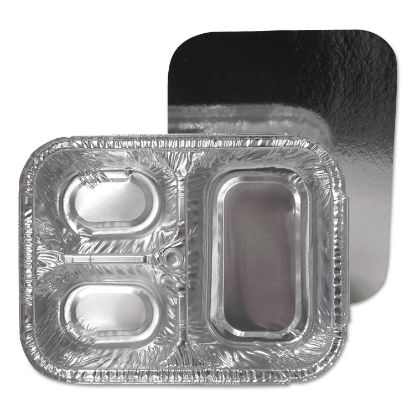 Picture of 3-Compartment Oblong Aluminum Foil Container with Board Lid, 23 oz, 8.5 x 6.38 x 1.72, 250/Carton
