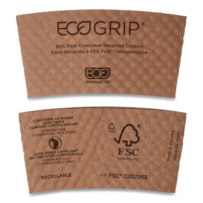 Picture of EcoGrip Hot Cup Sleeves - Renewable & Compostable, 1300/CT