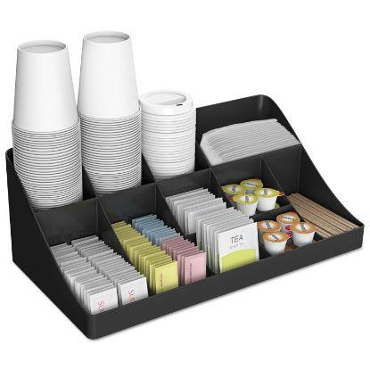 Picture of 11-Compartment Coffee Condiment Organizer, 18 1/4 x 6 5/8 x 9 7/8, Black