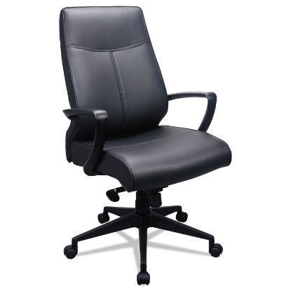 Picture of 300 Leather High-Back Chair, Supports up to 250 lbs., Black Seat/Black Back, Black Base