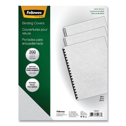 Picture of Classic Grain Texture Binding System Covers, 11-1/4 x 8-3/4, White, 200/Pack