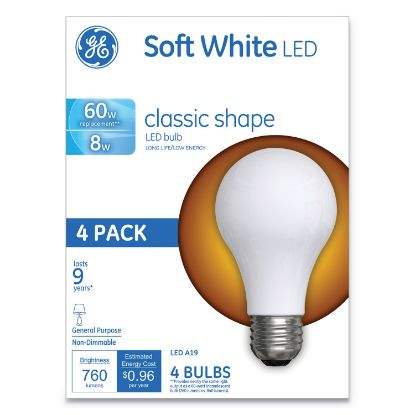 Picture of Classic LED Soft White Non-Dim A19 Light Bulb, 8 W, 4/Pack
