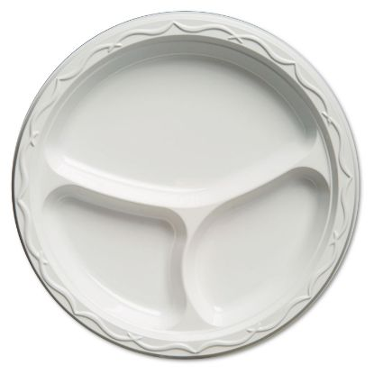 Picture of Aristocrat Plastic Plates, 10 1/4 Inches, White, Round, 3 Compartments, 125/Pack