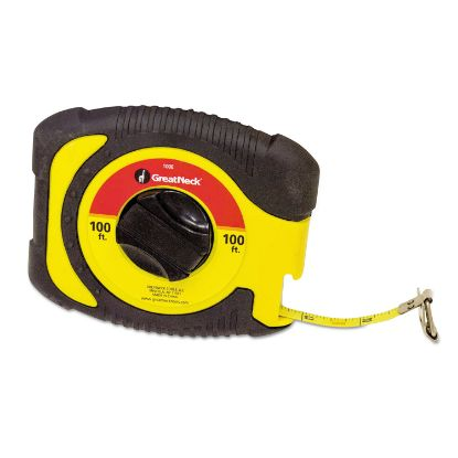 """Picture of English Rule Measuring Tape, 3/8"""" x 100ft, Steel, Yellow"""