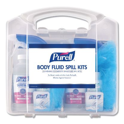 """Picture of Body Fluid Spill Kit, 4.5"""" x 11.88"""" x 11.5"""", One Clamshell Case with 2 Single Use Refills/Carton"""