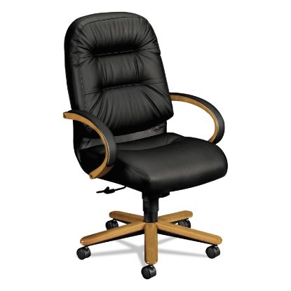 Picture of 2190 Pillow-Soft Wood Series Executive High-Back Chair, Harvest/Black Leather