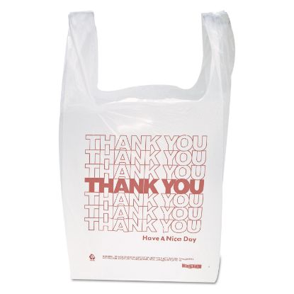 """Picture of """"Thank You"""" Handled T-Shirt Bag, 0.167 bbl, 12.5 microns, 11.5"""" x 21"""", White, 900/Carton"""