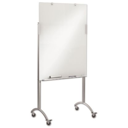 Picture of Clarity Glass Mobile Presentation Easel, 36 x 48 x 72, Glass/Steel