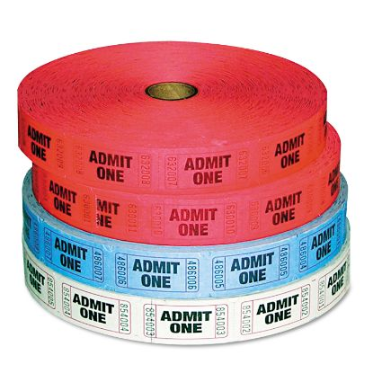 Picture of Admit-One Ticket Multi-Pack, 4 Rolls, 2 Red, 1 Blue, 1 White, 2000/Roll