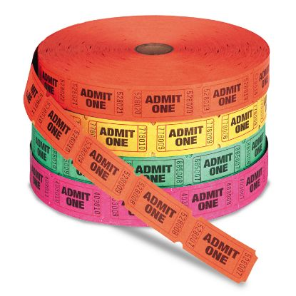 Picture of Admit One Single Ticket Roll, Numbered, Assorted, 2000/Roll, 4 Rolls/Pack
