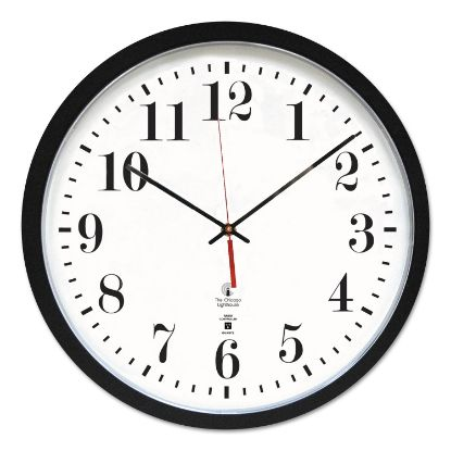 """Picture of Black ATOMIC Contemporary Clock, 16.5"""" Overall Diameter, Black Case, 1 AA (sold separately)"""