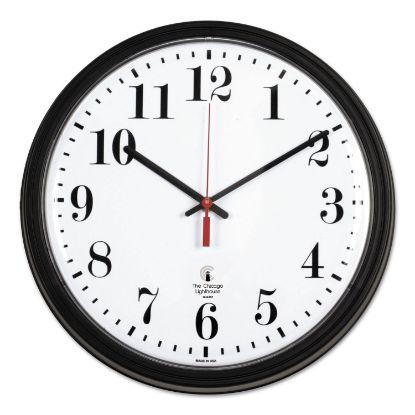 "Picture of Black Quartz CONTRACT Clock, 13.75"" Overall Diameter, Black Case, 1 AA (sold separately)"