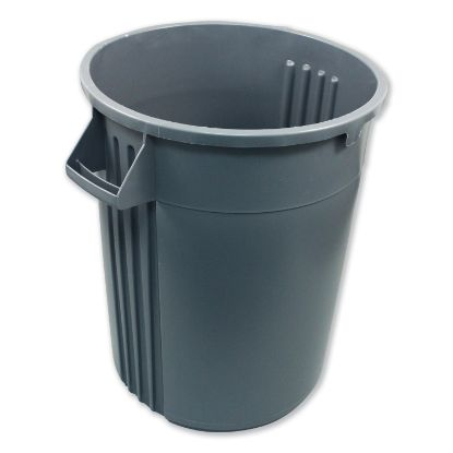 Picture of Advanced Gator Waste Container, Round, Plastic, 32 gal, Gray