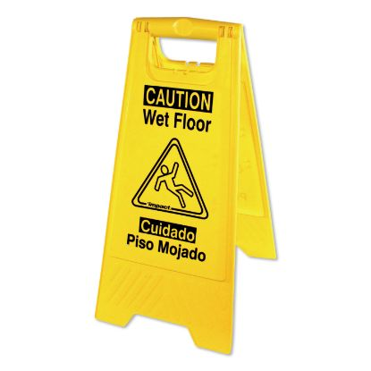 Picture of Bilingual Yellow Wet Floor Sign, 12.05 x 1.55 x 24.3, Yellow