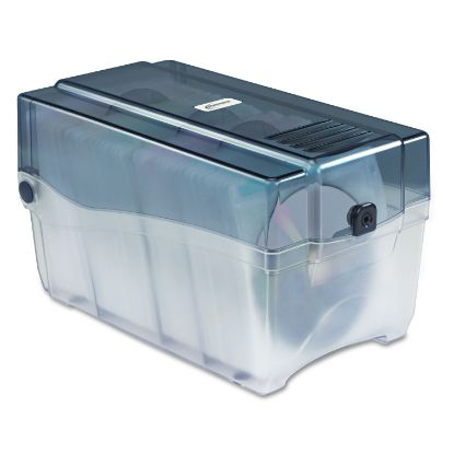 Picture of CD/DVD Storage Case, Holds 150 Discs, Clear/Smoke