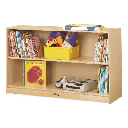 Picture of Adjustable Mobile Straight-Shelves, Low, 48w x 15d x 29.5h, Birch