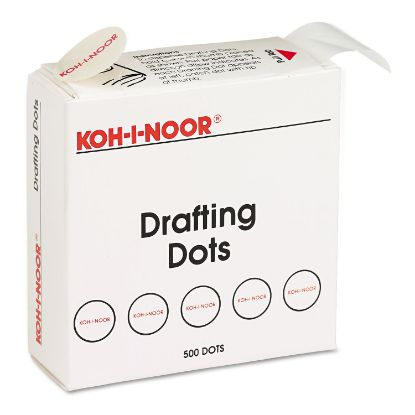 """Picture of Adhesive Drafting Dots, 0.88"""" dia, Dries Clear, 500/Box"""
