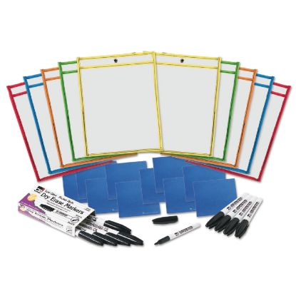 Picture of Dry Erase Pocket Class Pack, Assorted Primary Colors, 10/Pack