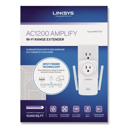 Picture of AC1200 AMPLIFY Dual-Band WiFi Extender, 2 Ports, 300/867 Mbps, 2.4/5GHz