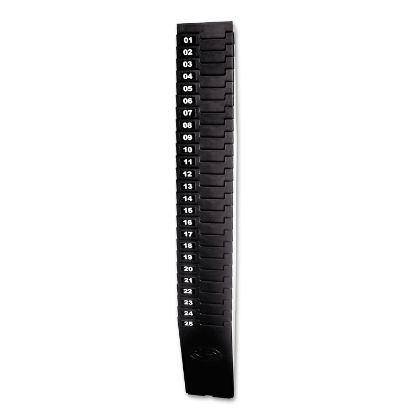 """Picture of Expandable Time Card Rack, 25-Pocket, Holds 7"""" Cards, Plastic, Black"""