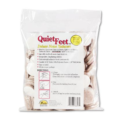 """Picture of Quiet Feet Deluxe Noise Reducers, 1.25"""" dia, Circular, Beige, 100/Pack"""