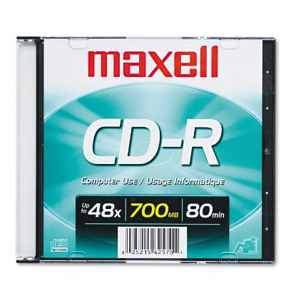 Picture of CD-R Disc, 700MB/80min, 48x, w/Slim Jewel Case, Silver