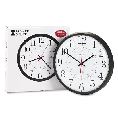 """Picture of Alton Auto Daylight Savings Wall Clock, 14"""" Overall Diameter, Black Case, 1 AA (sold separately)"""