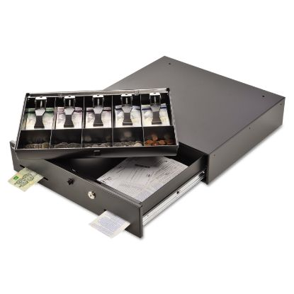 Picture of Alarm Alert Steel Cash Drawer w/Key & Push-Button Release Lock, Black