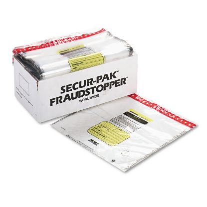 Picture of 8 Bundle Capacity Tamper-Evident Cash Bags, 20 x 20, Clear, 250 Bags/Box