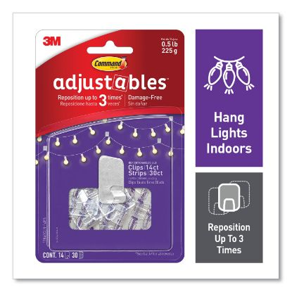 Picture of Adjustables Repositionable Mini Clips, Plastic, White, 0.5 lb Capacity, 14 Clips and 12 Strips