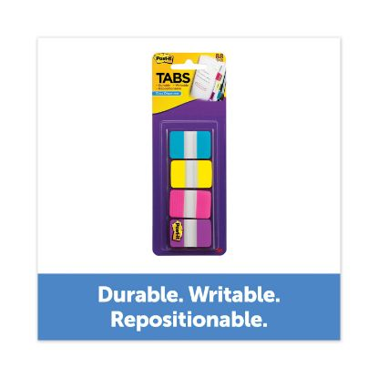 """Picture of 1"""" Wide Tabs with Dispenser, Aqua, Pink, Violet, Yellow, 88/Pack"""