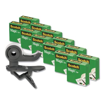 """Picture of Clip Dispenser Value Pack, 1"""" Core, Charcoal, Plus 12 Tape Rolls 3/4"""" x 1000"""""""