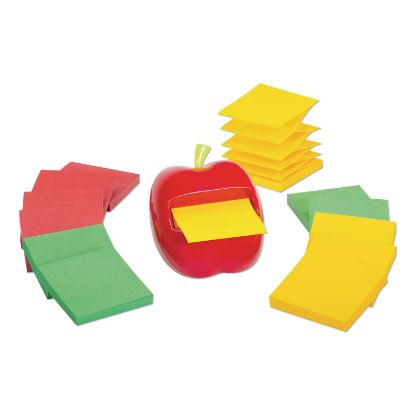 Picture of Apple Notes Dispenser Value Pack, 3 x 3 Marrakesh Color Collection Pads, Red/Green, 12 Pads/Pack