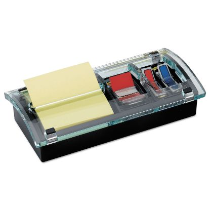 Picture of Note and Flag Dispenser, 3 x 3 Canary Notes and Assorted Flags, Black/Clear
